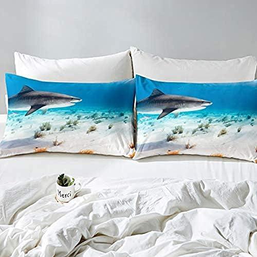 BCDJYFL Imprimé Literie avec Requin Housse De Couette avec Taie d'oreiller Parure De Lit pour Garçons Et Filles Polyeste.140X200Cm(Pas De Remplissage)