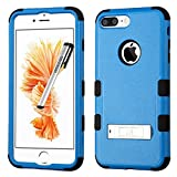 Apple iPhone 7 PLUS Case, Tuff Metal Stand Cover for Apple iPhone 7 PLUS with Stylus Pen ApexGears (TM) Blue Black
