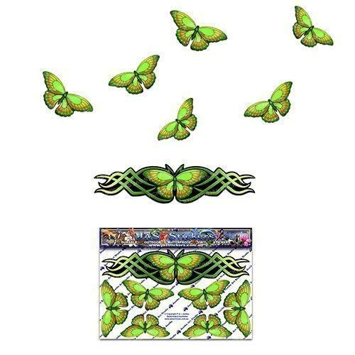Green BUTTERFLY Graphic Small ANIMAL Car Sticker Decal For Laptop Caravans Trucks & Boats ST00021GR_SML - JAS Stickers