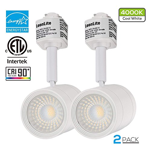 (2 PACK 8.5W(50W Equiv.) Integrated CRI90+ LED Track Light Head, Dimmable 38° Spotlight Track Light, 500lm ENERGY STAR ETL-Listed for Accent Task Wall Art Exhibition Retail Lighting, 4000K Cool White)