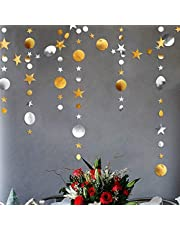 Gold Silver Star and Circle Dot Garland Decorations Metallic Glitter Circle Garlands Streamer Backdrop Glittery Hanging Bunting Banner Decorations for Kids Birthday Party Baby Shower Wedding Kids Room