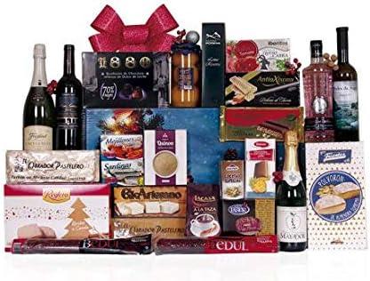 Lote de navidad con embutidos variados, botella de ginebra, cava, sidra y vinos, surtido extra de turrones y dulces navideños, conservas variadas.