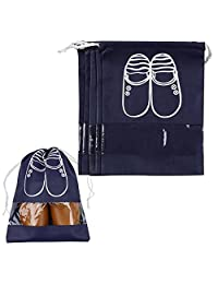 Pack of 5 Portable Dust-proof Breathable Travel Shoe Organizer Bags for Boots, High Heel -- Drawstring, Transparent Window, Space Saving Storage Bags, Medium Size, Navy Blue