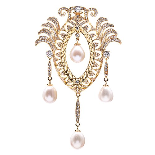 JYX Vintage Brooch 7-9mm Oval White Freshwater Pearl Brooch Pin