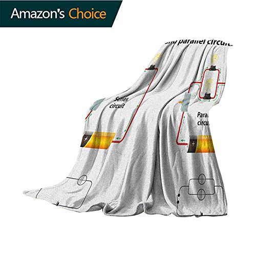 Educational Moving Blanket,Series and Parallel Circuits Voltage Electric Science Equipment Print 300GSM,Super Soft and Warm,Durable Throw Blanket,50