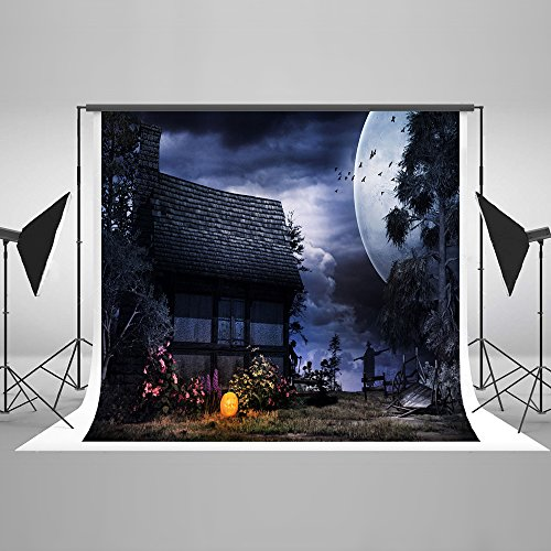 Haunted Night Selfie Party Stylish Luxurious Backdrop - Velvety Cotton Fabric Studio Props for Halloween pour Toussaint 7x5Ft -