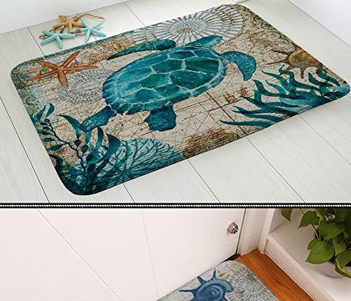 Loune WeekMarine Carpet Marine Style Door Mat Floor Carpet for Living Room Sea Turtle Pattern Coral Fleece Rug Anti-Slip Doormat Home Decor