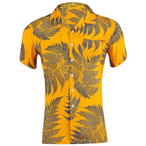 Shirts Big & Tall Hawaiian Print Short Sleeve Camp Slim Loose Printed Pocket Turn-Down Collar T-Shirt Tops Men (M,10- Yellow)