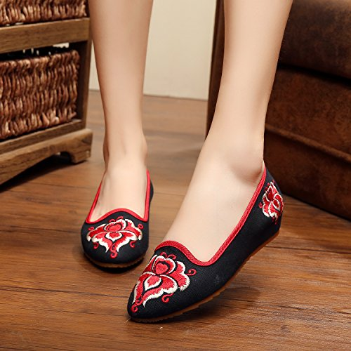 WXT Zapatos bordados finos, lenguado del tendón, estilo étnico, zapatos femeninos, manera, zapatos de lona cómodos, ocasionales Black