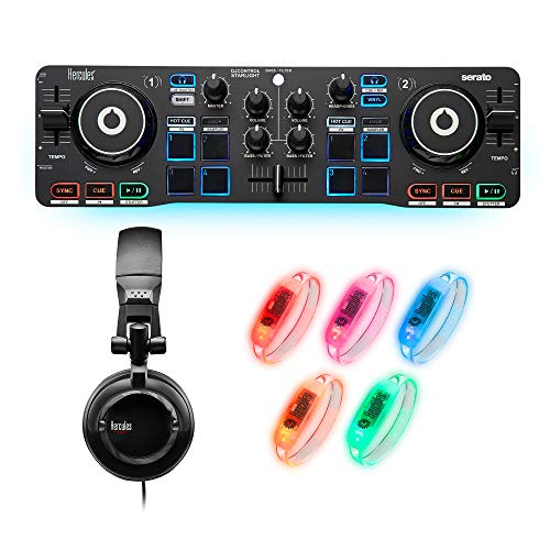 Hercules DJ Party Set: Ultra-compact, 2-deck DJControl Starlight USB DJ controller for Serato DJ Lite, HDP DJ45…