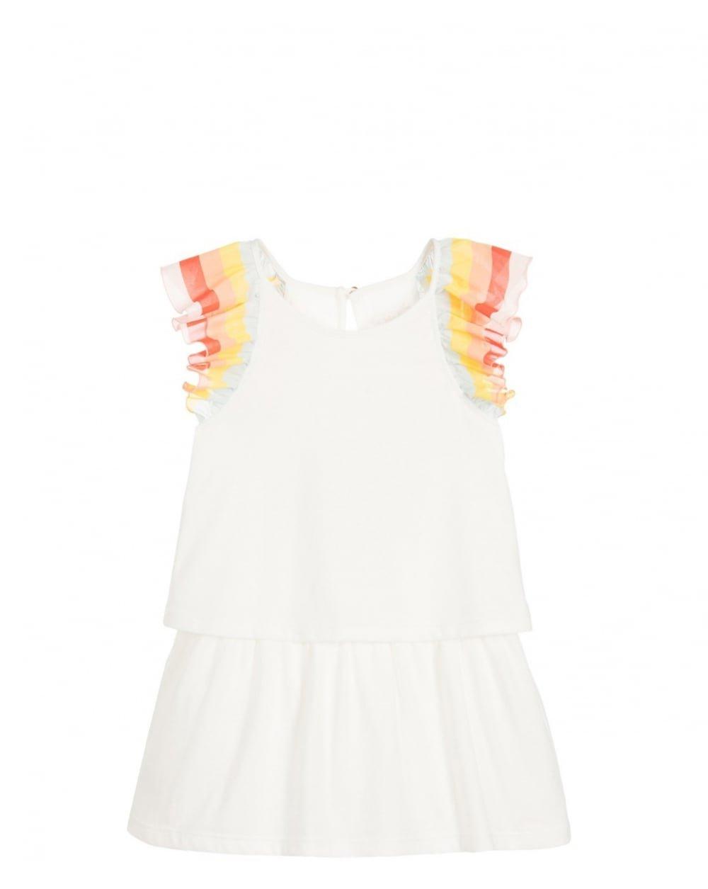 Chloe Girls' Rainbow Ruffles Dress Little Kid, Off White, 3Y