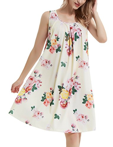 Perfashion Flower Shift Dresses Pleated Front Loose Tank Dress for Women