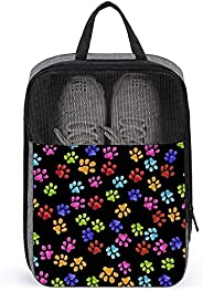 Colorful Dog Paw Travel Golf Shoe Bag Waterproof Carry Tote Bag For Sport Tennis And Other Accessories
