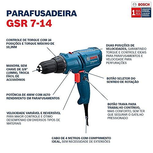 Parafusadeira e Furadeira Bosch GSR 7-14 E 400W 220V cabo de 4m