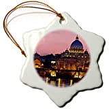 3dRose orn_137622_1 Ponte Sant Angelo, St Peters Basilica, Rome, Italy-Eu16 Bjn0163-Brian Jannsen-Snowflake Ornament, 3-Inch, Porcelain