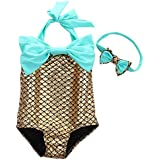 Newland Girl's One Piece Mermaid Swimwear Swimsuit Bathing Suit+Headband