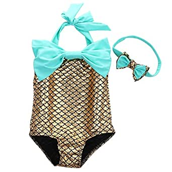 Amazon.com: Newland Girl's One Piece Mermaid Swimwear