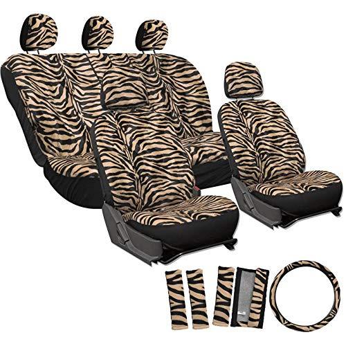 Motorup America Zebra Auto Seat Cover - Animal Print Full Set - Fits Select Vehicles Car Truck Van SUV - Beige ()