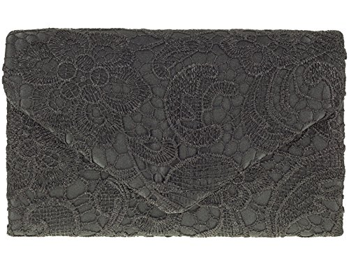 Ladies Satin Lace Clutch Bag Shoulder Chain Elegant Wedding Evening Womens - Burgundy Black
