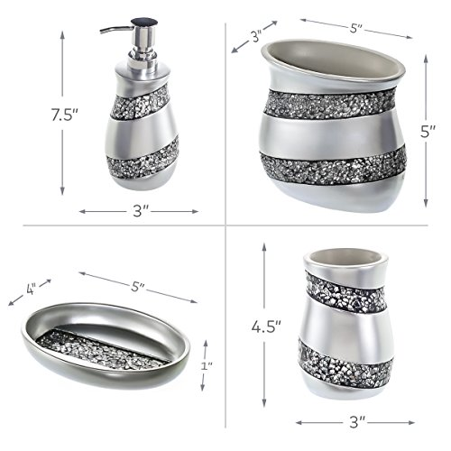 Creative scents bathroom accessories set 4 piece silver for Silver mosaic bathroom accessories