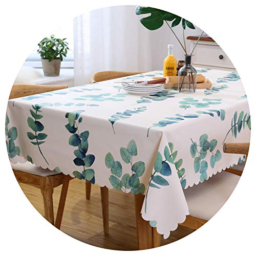 (Tablecloths Rose Green Leaves Table Cloth Waterproof Tafelkleed Plastic PVC Oilproof Tablecloths Table Cover Home Decor,Style 1,135Cm Round)