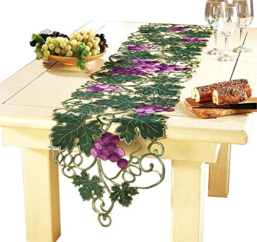 Grape Kitchen Decorations - QXFSMILE Handmade Crochet Table Runner Embroidered Grape and Leaves Unique Home Decoration 15 by 70 Inch