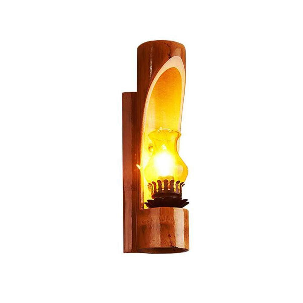 MBLIGHT Lámpara de Pared de bambú Creativa Retro Escalera Corredor de Cristal Decorativo de Pared E14 zócalo Lámpara de Pared Antigua: Amazon.es: Hogar