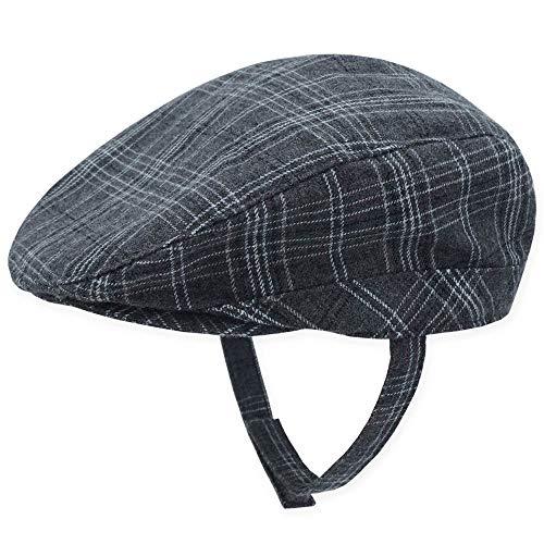(Keepersheep Baby Boys Newsboy Cap, Infant Beret Hat Flat Cap, Newborn Cabbie Driving Gatsby Hat Peaked Cap (Gray Plaid, 18-24 Months))