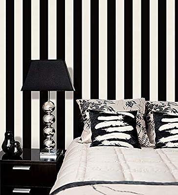 BW28748 2.5 inch Black and White Stripe Wallpaper