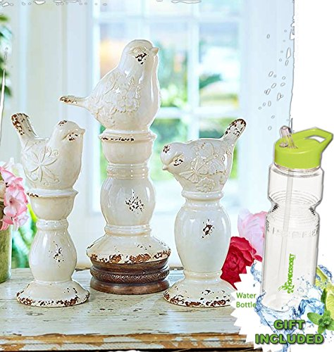 Gift Included- Classic Distressed Crackle Finish Set of 3 Ceramic Bird Finials (Crackle Finish Set)