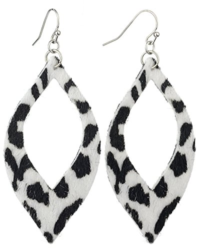 Almond Shaped Earrings - Women's Leopard Print Furry Feel Open Cut Almond Shaped Dangle Pierced Earrings, White