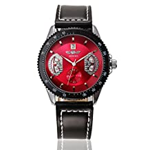 Winner Mens/Womens Sport Leisure Self Winding Automatic Mechanical Leather Wirst Watches with Calendar-Red