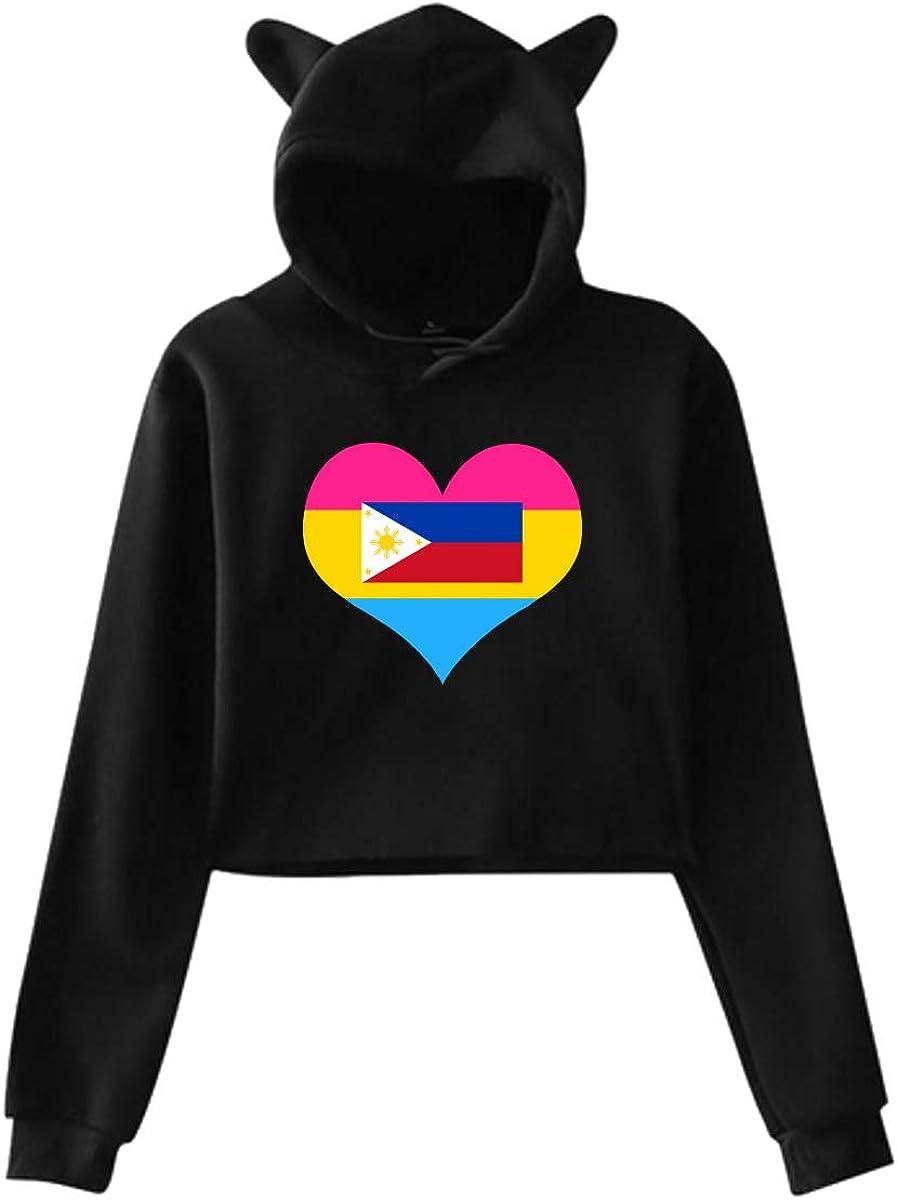 Womens Girls Cat Ear Pullover Hoodie Pansexual Heart Philippines Flag Crop Top Sweatshirts