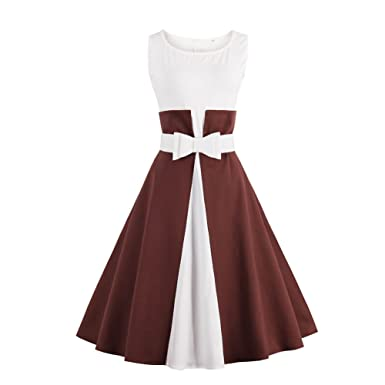 iShine Retro Kleider Damen Knielang 1950er Rockabilly Faltenrock ...
