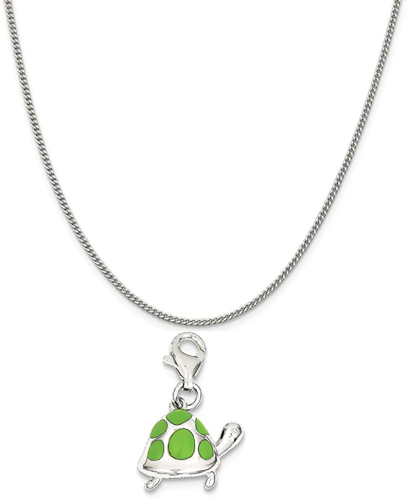 Mireval Sterling Silver Green Enameled Turtle Charm on a Sterling Silver Chain Necklace 16-20