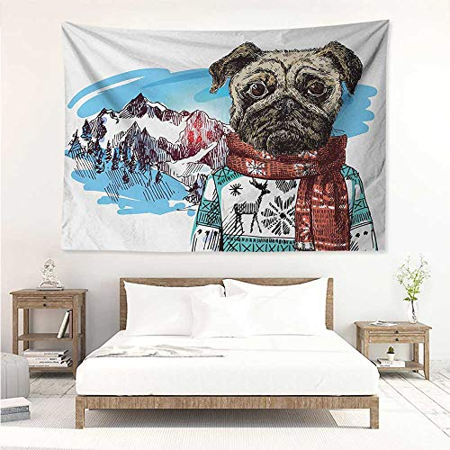 (alisos Pug,Wall Decor Tapestry Sketch Style Dog with Winter Clothes Scarf Sweater Mountains Background Open Sky Image 93W x 70L Inch Tapestry Wallpaper Home Decor Ruby Blue)