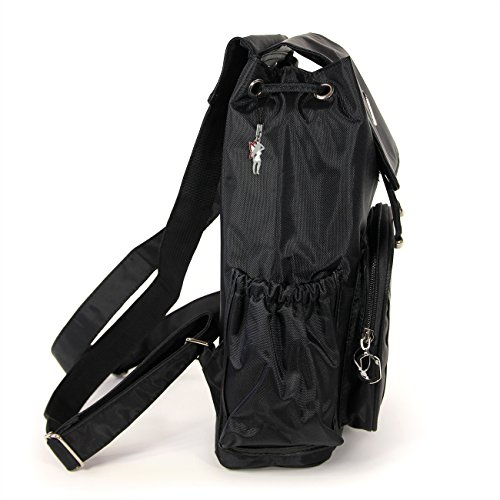 DrachenLeder - Bolso mochila  de Material Sintético para mujer negro negro