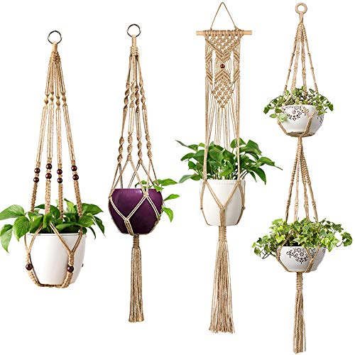 - Mkono Macrame Plant Hangers 4 Pcs Indoor Outdoor Hanging Planter Basket Jute Rope Flower Pot Holder Boho Hippie Style