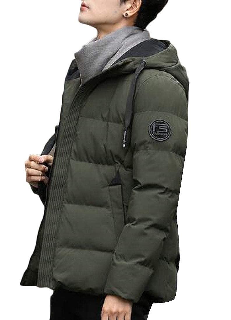 WSPLYSPJY Mens Casual Slim Fit Junior Thicken Packable Hooded Down Coat
