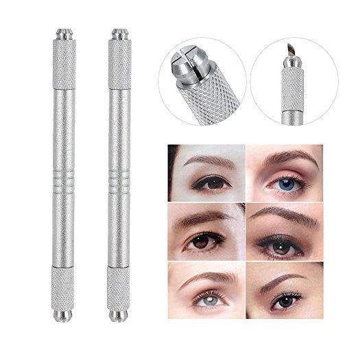 Anself 2PCS Dual-head Permanent Eyebrow Tattoo Pen Manual Handheld Tattooing Pencil (2PCS) (Tattoo Pencil)