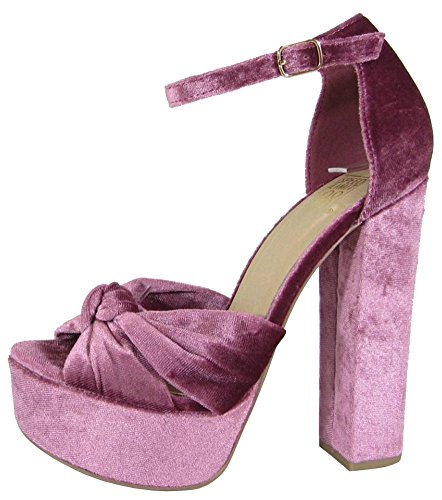 Speed Limit 98 Women's Strappy Velvet Block Heel Platform Sandal,8 B(M) (Velvet Platform Sandals)