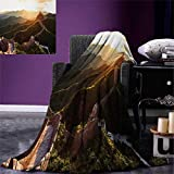 Great Wall of China Digital Printing Blanket Historical Structure at Sunset Time with Hazy Mystic Image Print Summer Quilt Comforter 80''x60'' Yellow Green