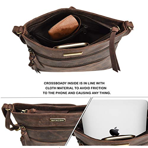 Crossbody-Bags for Women Genuine Leather - Brown Small Multi-Pocket Adjustable Shoulder Bag, Spacious Travel Purse with Zipper and Mobile Holder