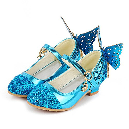 Fancyww Girls Butterfly Decor Sequins Performance Shoes Low Heeled Dress Shoes(Blue-26/9 M US Toddler) -