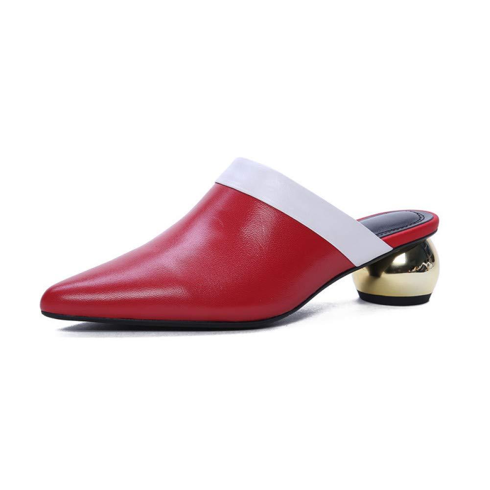 rouge VIVIOO Mules en Cuir véritable véritable véritable Femme Chaussures Couleurs mélangées Chaussures d'été Bout Pointu Fashion Party Pompes pour Femmes 078