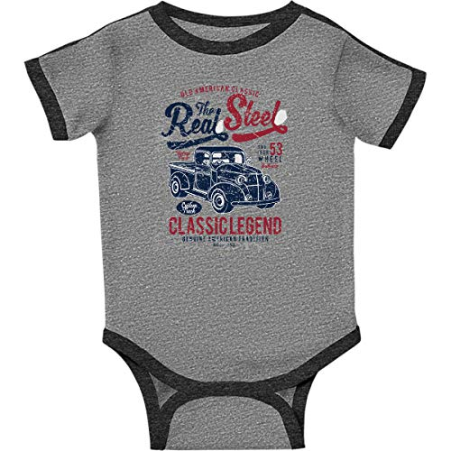 Inktastic the Real Steel Infant Creeper 12 Months Ringer Heather and Smoke