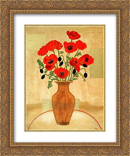Crimson Poppies 2X Matted 18x15 Gold Ornate Framed Art Print by Beverly Jean
