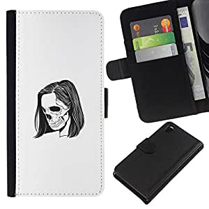 All Phone Most Case / Oferta Especial Cáscara Funda de cuero Monedero Cubierta de proteccion Caso / Wallet Case for Sony Xperia Z3 D6603 // Emo Skeleton