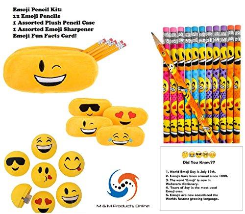 [FREE SHIPPING]M & M Products Online Emoji Pencil Supplies Set! Includes:  12 Emoji Pencils, 1 Plush Emoji Pencil Case (Assorted),1 Emoji Pencil
