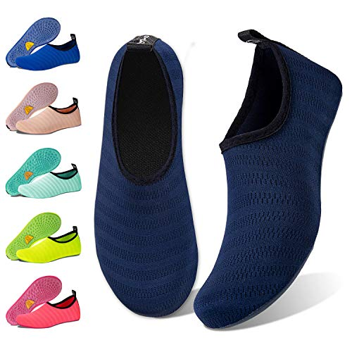 Navy Womens Mens Water - Water Shoes for Womens Mens Barefoot Quick-Dry Aqua Socks for Beach Swim Surf Yoga Exercise New Translucent Color Soles (Stripe-Navy, 38/39)